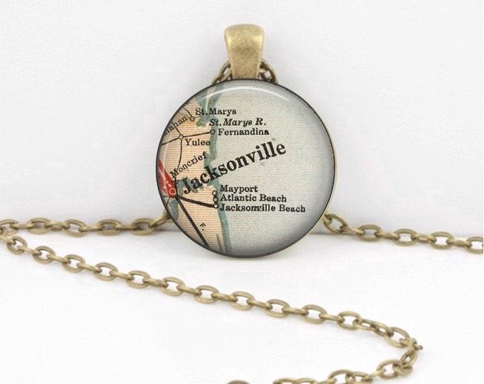 Jacksonville Florida Vintage Map Pendant Necklace -Map Jewelry, Map Necklace, Map Pendant, Custom Jewelry, Personalized Jewelry