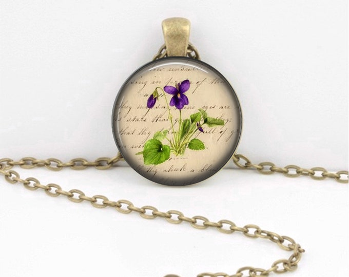 Birth Month Flower Necklace - February - Violet - Gift Pendant Necklace Jewelry or Key Ring