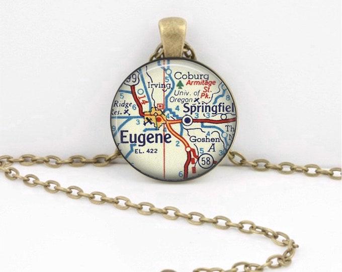 University of Oregon Eugene Map Gift  Vintage Map Pendant Necklace or Key Ring