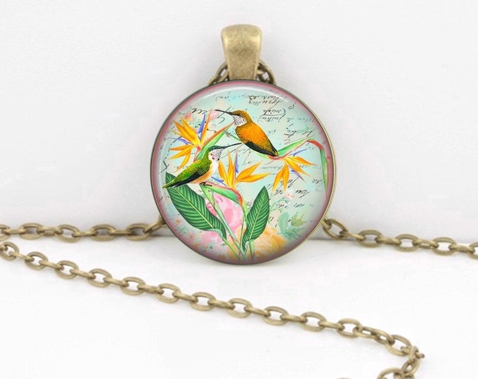 Hummingbirds Necklace - Gift Pendant Necklace Jewelry or Key Ring
