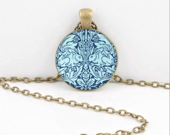 William Morris Textile Art Rabbits Bunnies Blue Art Nouveau Art Pendant Necklace Inspiration Jewelry or Key Ring
