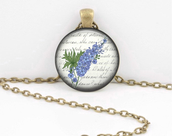 Birth Month Flower Necklace - July - Larkspur - Delphinium - Gift Pendant Necklace Jewelry or Key Ring
