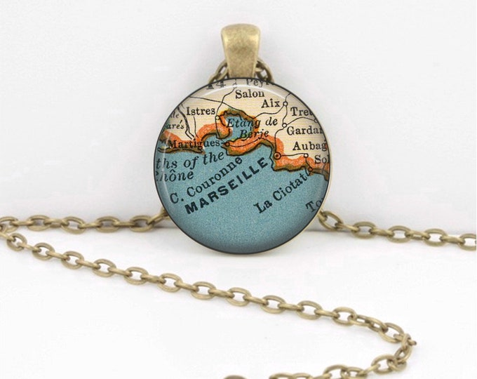 Marseille Aix Southern France Vintage Map Geography Gift  Pendant Necklace or Key Ring