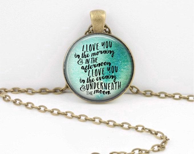 """Skidamarinka dinky doo Lyrics  I love you in the morning, and ....."""" lyrics Moon  Pendant Necklace Inspiration Jewelry or Key Ring"""