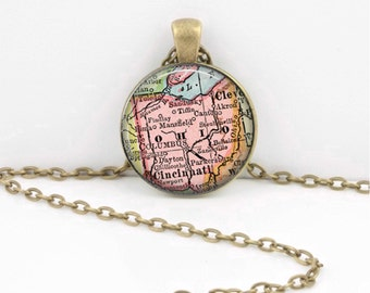 Ohio Vintage Map Geography Gift  Pendant Necklace or Key Ring