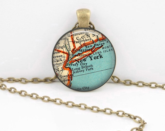 New York City New York Vintage Map Geography Gift  Pendant Necklace or Key Ring