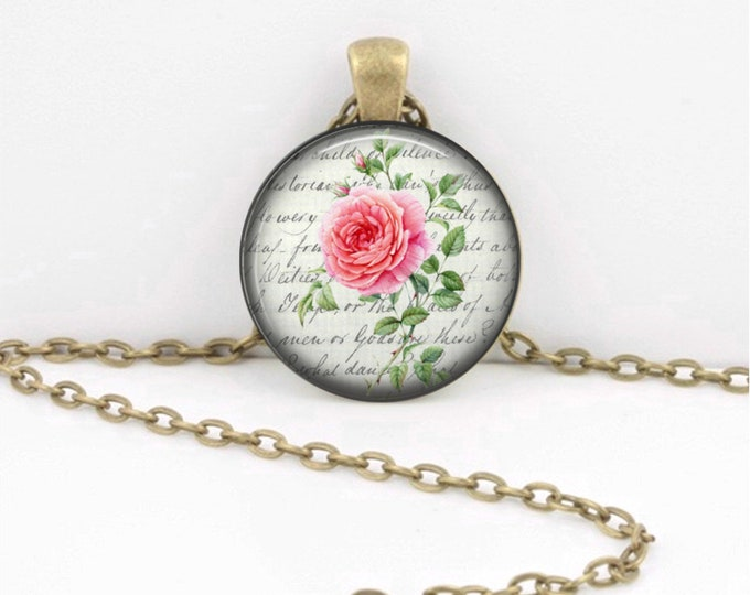 Birth Month Flower Necklace - June - Rose - Gift Pendant Necklace Jewelry or Key Ring