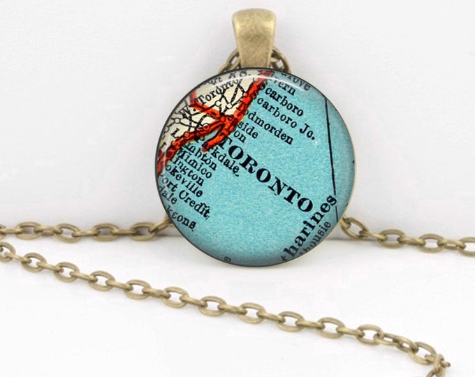 Toronto Ontario Canada Vintage 1938 Map Geography Gift  Pendant Necklace or Key Ring