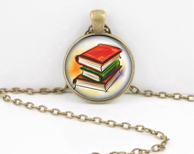 Book Lover's  Necklace - Librarian  Teacher Pendant - Literary Jewelry - Gift - Library Book Pendant Necklace or Key Ring