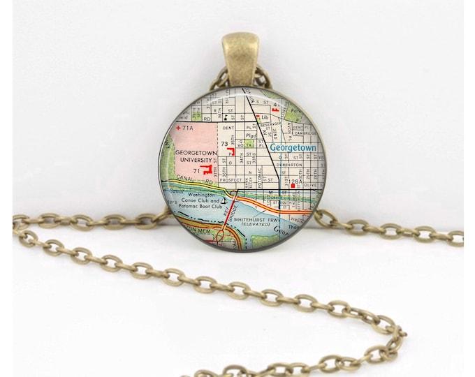 Georgetown University Washington DC Vintage Map Keepsake Vintage Map Geography Gift  Pendant Necklace or Key Ring