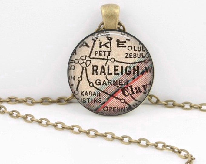 Raleigh North Carolina Vintage 1927 Map Geography Gift  Pendant Necklace or Key Ring