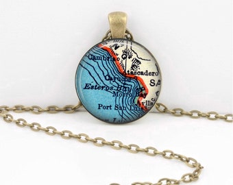 Cayucos California Map Geography Gift  Pendant Necklace or Key Ring