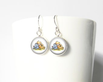 Winnie the Pooh and Eeyore Sterling Silver Earrings Gift  Silver Jewelry