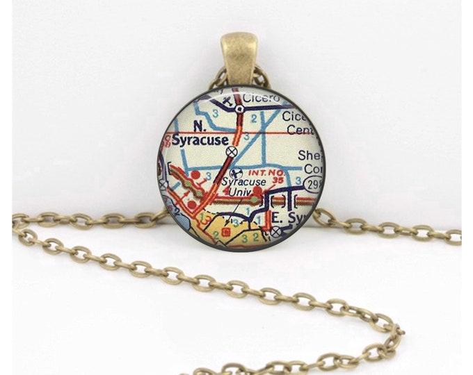 Syracuse University NY Vintage Map Geography Gift  Pendant Necklace or Key Ring
