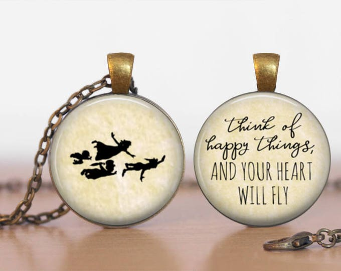 Peter Pan Think Happy Things and Your Heart will Fly Double Sided  Pendant Double Pendant Two Sided Necklace