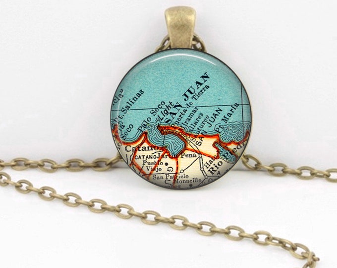 San Juan Puerto Rico Vintage 1938 Map Geography Gift  Pendant Necklace or Key Ring