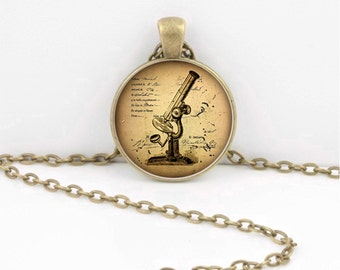 Vintage Miscroscope Biology Anatomy Science Necklace Inspiration Jewelry or Key Ring