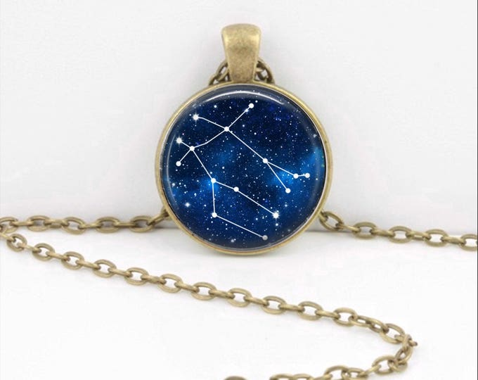 Gemini Zodiac Necklace, Constellation Jewelry, Astrology Star Sign Pendant, Gemini Twins Zodiac Key Ring