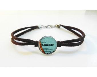 Map Bracelet Chicago Illinois - Vintage Map - Leather Bracelet -  Map Jewelry