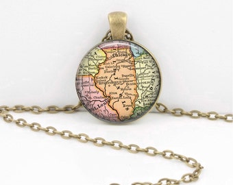 Illinois Vintage Map Geography Gift  Pendant Necklace or Key Ring