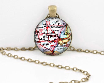 Detroit Michigan Flint Map Necklace Keepsake Vintage Map Geography Gift  Pendant Necklace or Key Ring