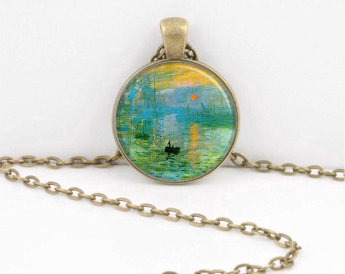 Claude Monet Impression Sunrise Pendant Necklace or Key Ring Art Pendant