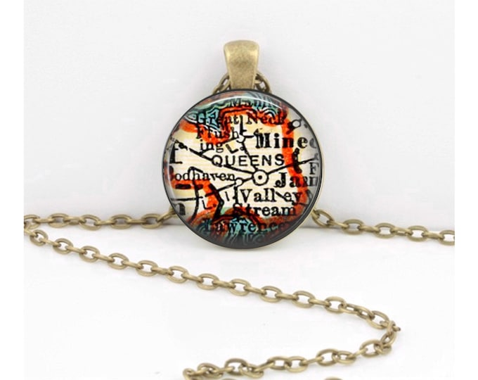 Queens New York Map Pendant Geography Gift  Pendant Necklace or Key Ring