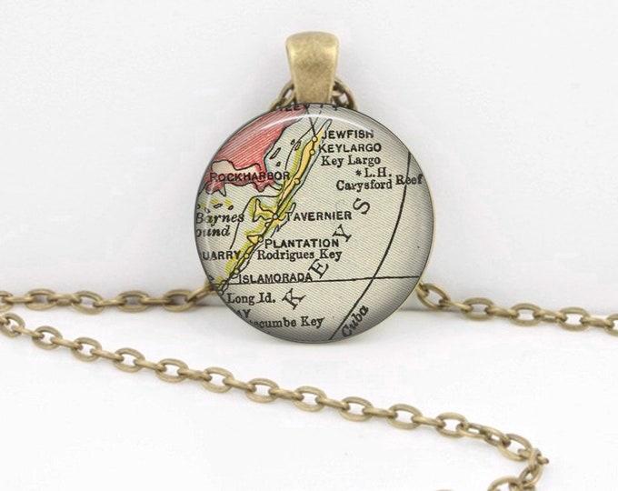 Key Largo Florida Keys Upper Keys Vintage Map Geography Gift  Pendant Necklace or Key Ring