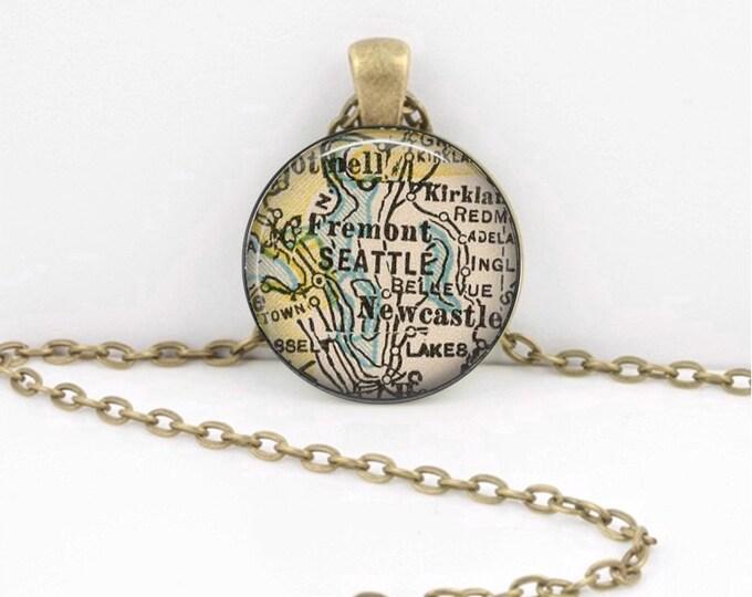 Seattle Washington PNW Vintage Map Geography Gift  Pendant Necklace or Key Ring