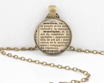 Music Musique French Dictionary Word Pendant Necklace or Key Ring