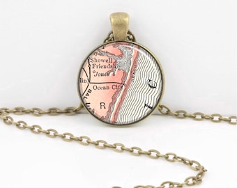 Ocean City Maryland  Vintage Map Geography Gift  Pendant Necklace or Key Ring