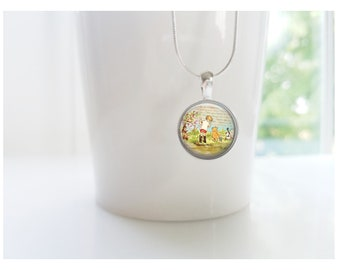 Winnie the Pooh and Christopher Robin Sterling Silver Pendant Necklace
