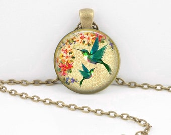 Hummingbird Necklace - Gift Pendant Necklace Jewelry or Key Ring