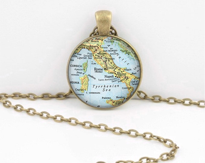 Vintage Map Italy Italia Mediterranean Travel Antique Map Geography Gift  Pendant Necklace or Key Ring