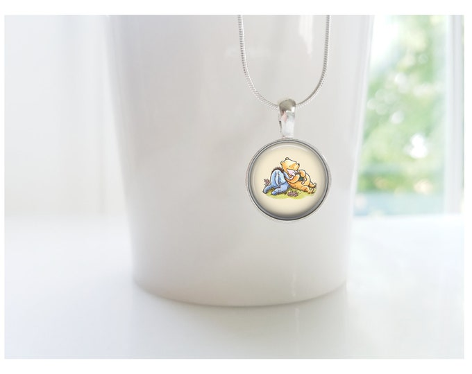 Eeyore and Winnie the Pooh Sterling Silver Pendant Necklace
