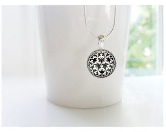 Bats M.C. Escher Art Sterling Silver Pendant Necklace