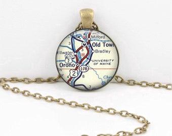 University of Maine Orono Grad Alumni Gift  Vintage Map Pendant Necklace or Key Ring