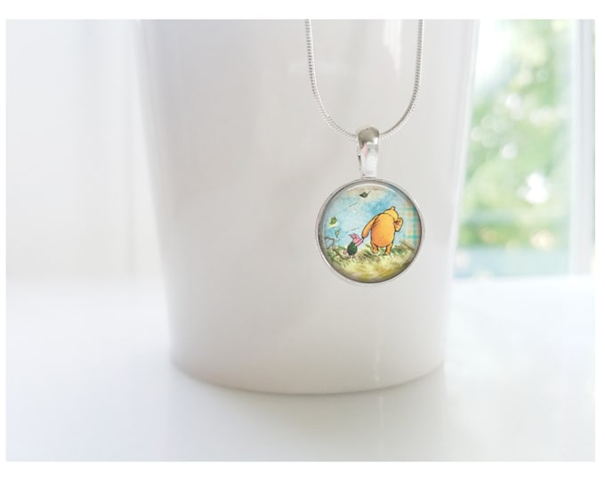 Winnie the Pooh and Piglet Sterling Silver Pendant Necklace