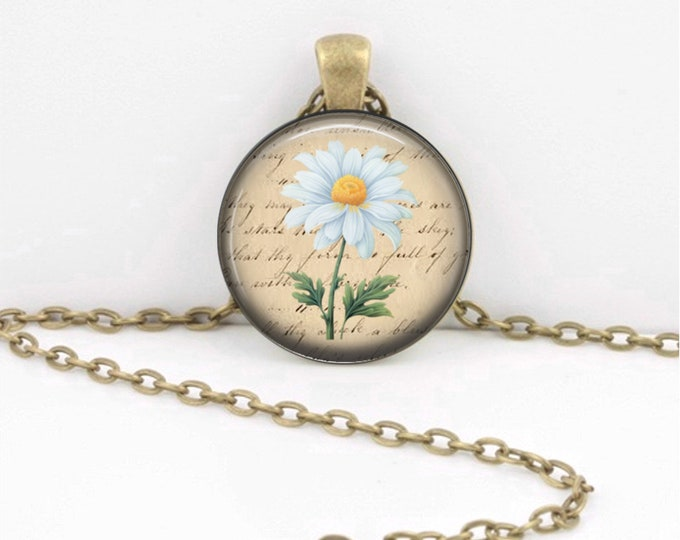 Birth Month Flower Necklace - April - Daisy - Gift Pendant Necklace Jewelry or Key Ring