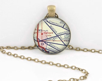 Harvard University Grad Alumni Gift  Vintage Map Pendant Necklace or Key Ring