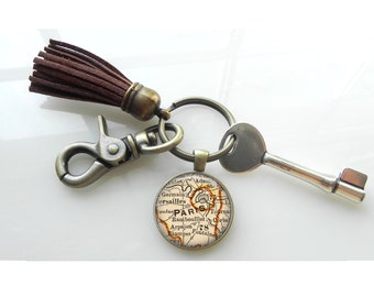 Paris France Vintage  Map Key Chain Gift