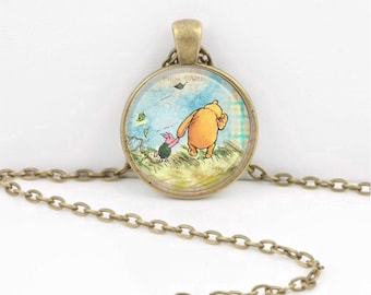 Winnie-the-Pooh classic illustration Pooh and Piglet Pendant Necklace or Key Ring