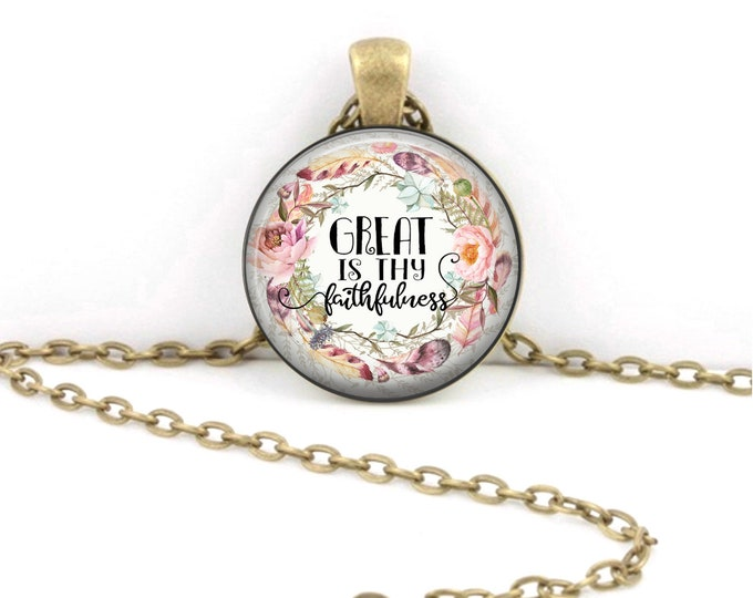 Great is Thy Faithfulness Necklace Pendant Jewelry Key Ring