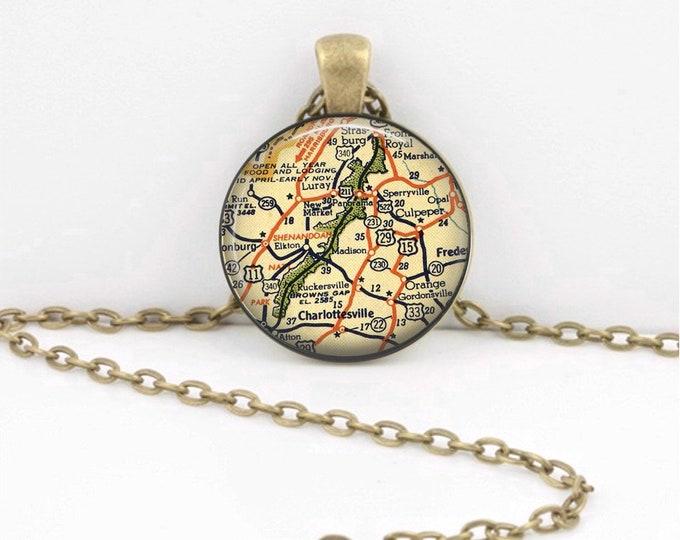 Shenandoah National Park Vintage Map Geography Gift  Pendant Necklace or Key Ring