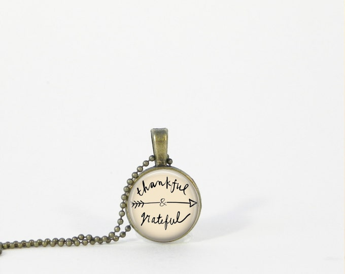 Thankful and Grateful Small Necklace Inspiration Encouragement Gift Jewelry