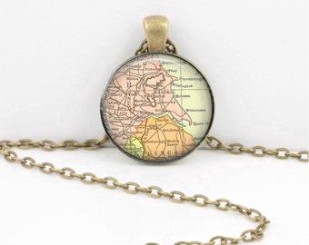 York England UK Vintage Map Geography Gift  Pendant Necklace or Key Ring