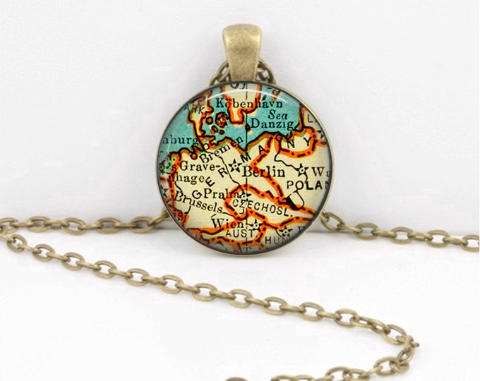 Germany Map Pendant Geography Gift  Pendant Necklace or Key Ring