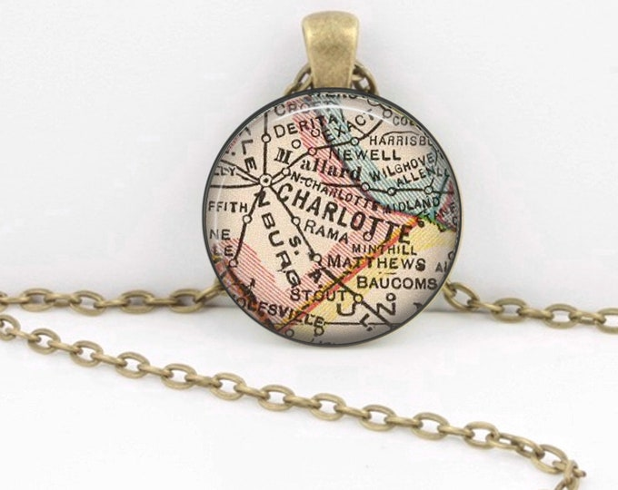 Charlotte North Carolina Vintage 1927 Map Geography Gift  Pendant Necklace or Key Ring