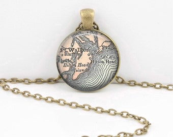 Hilton Head South Carolina Vintage Map Geography Gift  Pendant Necklace or Key Ring