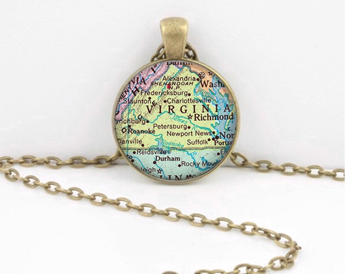 Vintage Map Virginia Antique Map Geography Gift  Pendant Necklace or Key Ring